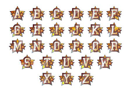 athletic type: Alphabet set with shiny stars decoration