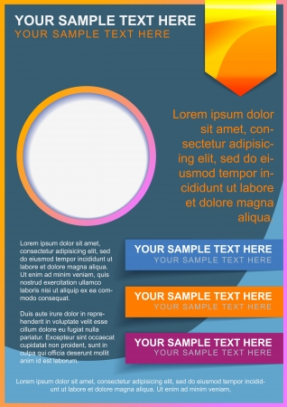 Brochure, flayer or cover template blue with bright color elements Vectores