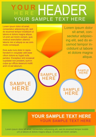 Brochure, flayer or cover template green with bright color elements Vector