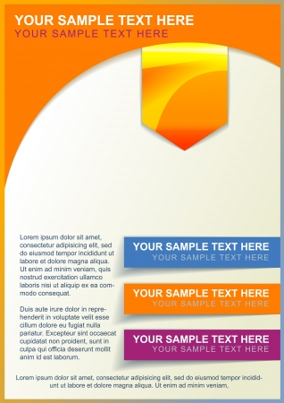 Brochure, flayer or cover template orange with color elements