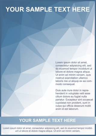 Blue brochure or flyer template on triangle pattern Vectores