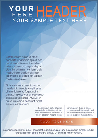 Blue brochure or flyer template on triangle pattern 矢量图像