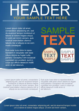 Flayer, brochure or cover template with torn paper Vector