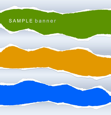Banners torn paper set Vector