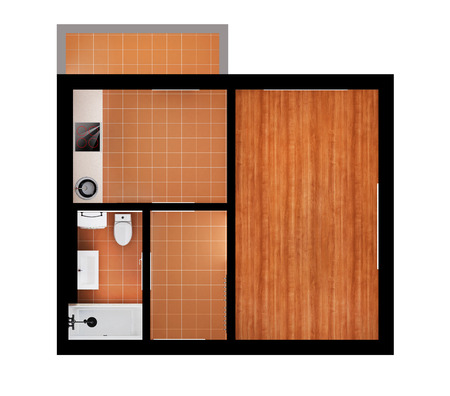 3d appartment  plan isolated on white