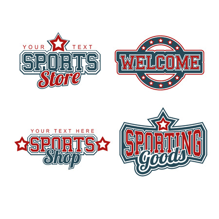 Sports Store Signs Collection Vector