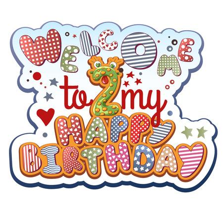 2 year old: Birthday Invitation Card - 2 years old Illustration