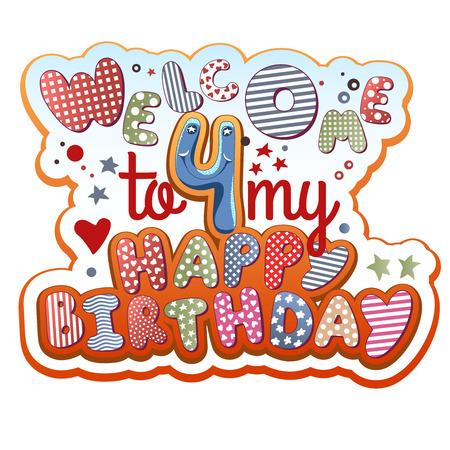 niños con pancarta: Tarjeta de la invitación del cumpleaños - 4 años de edad