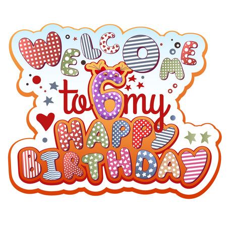 Birthday Invitation Card - 6 years old  イラスト・ベクター素材