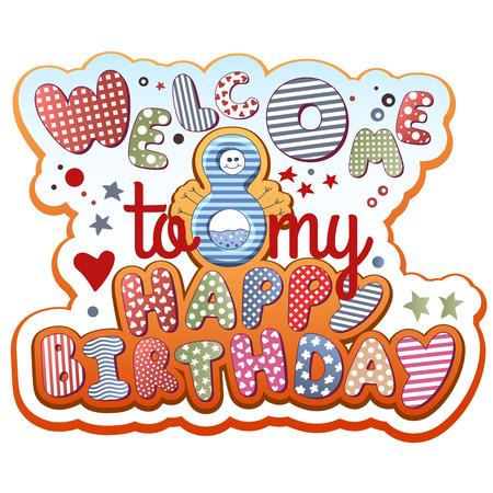 Birthday Invitation Card - 8 years old 免版税图像 - 31772124