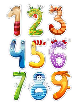 numero nueve: Números de dibujos animados de colores para los niños