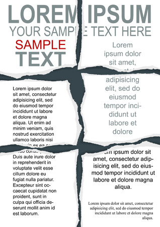 newspaper headline: Torn Flyer Template with clipping mask Illustration