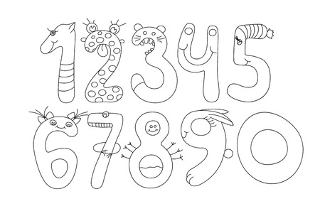 Numbers For Kids Black And White Vector