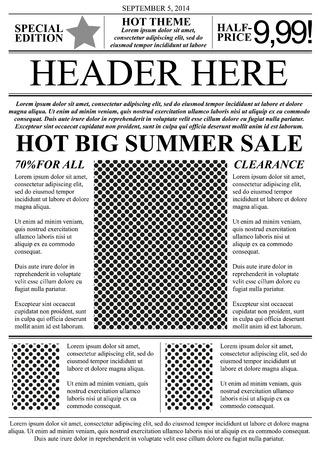 oude krant: Flyer template krant stijl Stock Illustratie