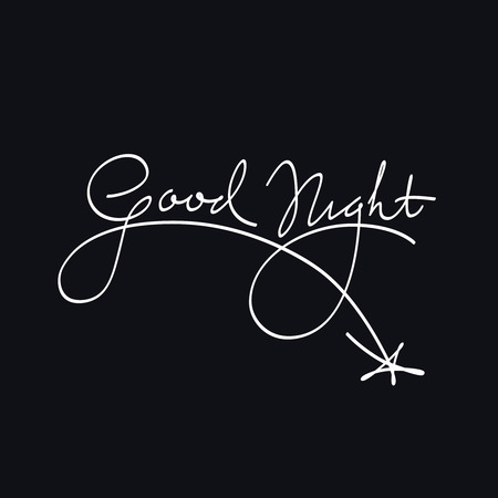 good evening: Good Night Calligraphic Artistic Lettering White On Blue