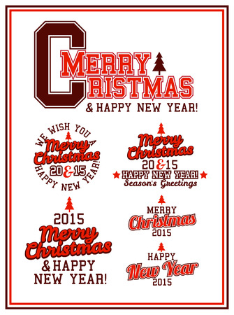 Merry Christmas and Happy New Year Varsity Lettering Vector