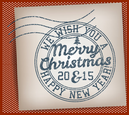 Merry Christmas And Happy New Year Stamp Vector