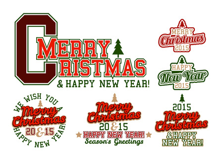 athletic type: Merry Christmas and Happy New Year Varsity Lettering Colorful Illustration