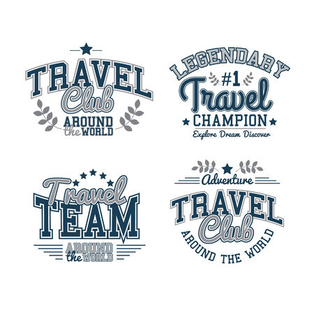 Retro Labels Travel Set Graphics Vector