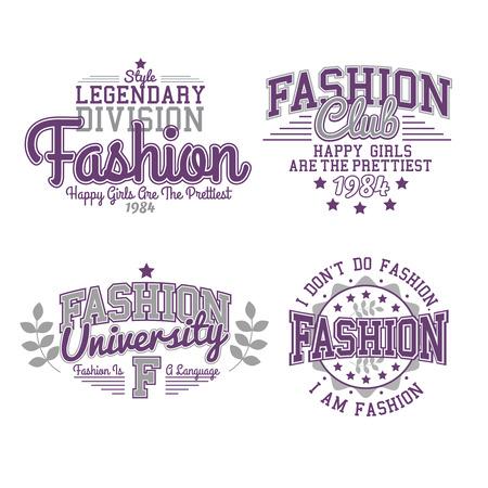 Retro Labels Fashion Set Graphics Çizim