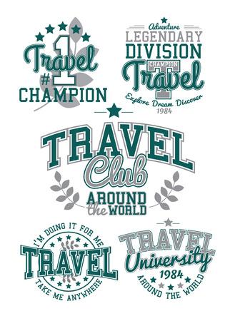 athletic type: Retro Labels Travel Set Graphics Illustration