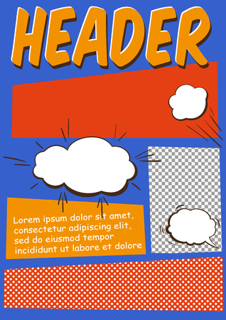 Editable Comics Page or Flayer Template With Comics Elements Stock Illustratie