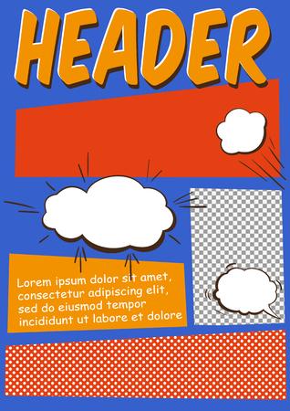 cómico: Editable Comics página o plantilla Flayer Con Comics Elementos Vectores
