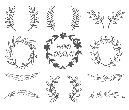 Hand Drawn Vector Set Of Wreaths For Invitations, Greeting Cards And Designs Vettoriali