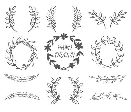 Hand Getrokken Vector Reeks Kransen voor uitnodigingen, wenskaarten en ontwerpen Stock Illustratie