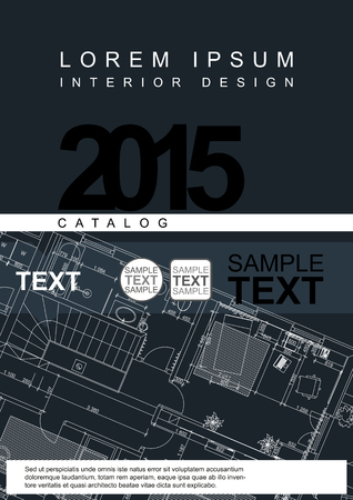architects: Architectural Flyer Or Cover Template With Technical Drawing Background