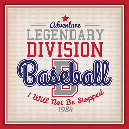 El legendario retro Béisbol División estilo del equipo universitario de la insignia
