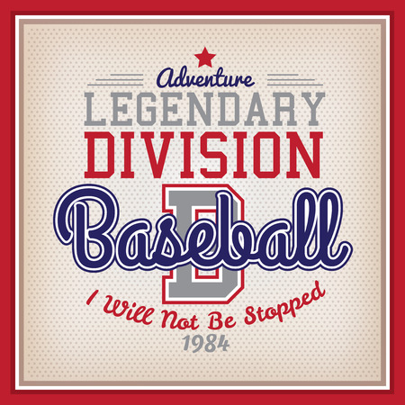 Retro Legendary Division Baseball Badge Varsity Style Illustration