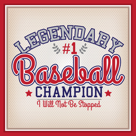 legendary: Retro Baseball Legendary Champion Badge Varsity Style Illustration