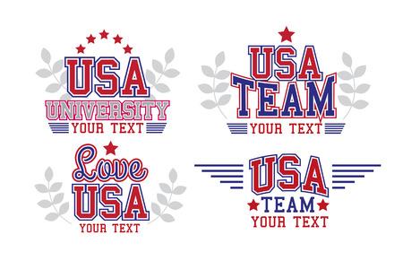 Étiquettes Retro Style College USA Set Vecteurs