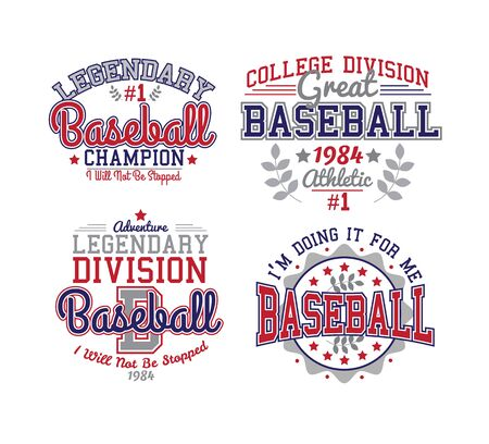 campus: Baseball Red and Blue Varsity Set Athletic Style Illustration
