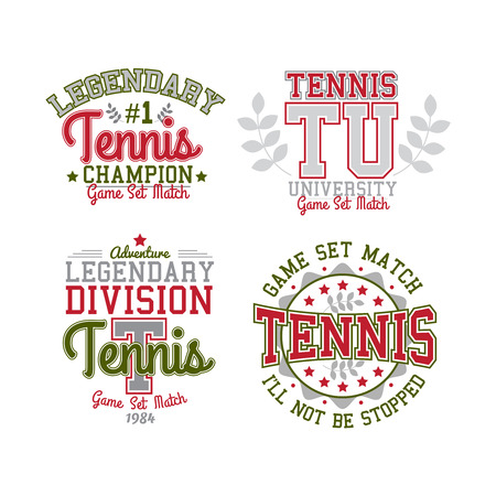 apparel: Retro Tennis Sport Badge Collection Varsity Style Illustration