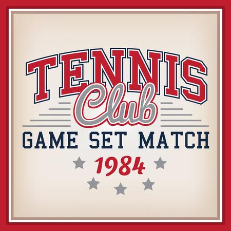 varsity: Retro Tennis Club Identity Badge Varsity Style