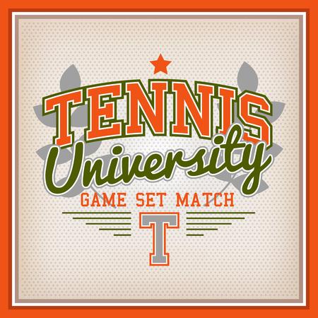 sport wear: Retro Tennis University Badge Varsity Style. Game Set Match Illustration