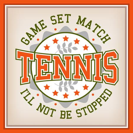 varsity: Retro Tennis Identity Badge Varsity Style. Game Set Match