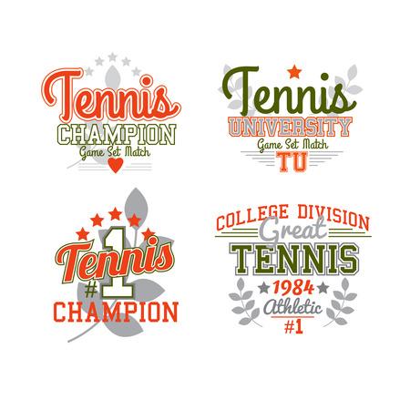 varsity: Retro Tennis Sport Badge Set Varsity Style
