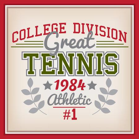 varsity: Retro College Division Tennisl Badge Varsity Style Illustration