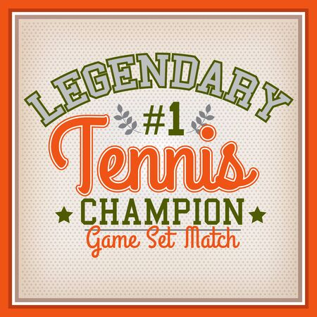 varsity: Retro Legendary Tennis Champion Badge Varsity Style Illustration