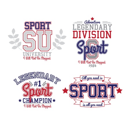 Retro Monochrome Sport Badge Collection Varsity Style