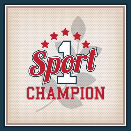 varsity: Retro Sport Badge Champion. Collection Varsity Style Illustration