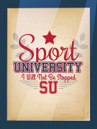 athletic type: Retro Sport University Motivation Poster Varsity Style Illustration