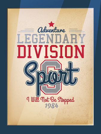 rugby team: Retro Legendary Division Sport Motivation Poster Varsity Style