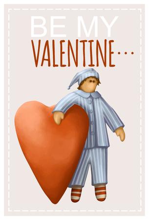cartoon hands: Greeting Card With Handrawn Boy In Pajamas. Be My Valentine Illustration