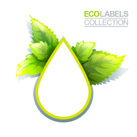 save icon: Bright green label template with leaves for organic, natural and eco products Illustration