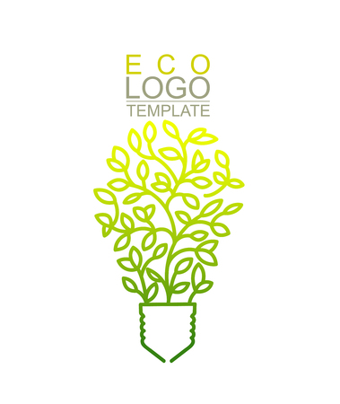 conceptual bulb: Handwritten Conceptual Green Eco Template. Light bulb