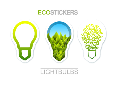 sample environment: Collection Of Eco Theme Stickers. Lightbulbs Set